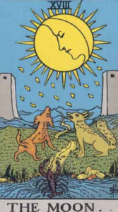 The Moon shining on two dogs, the conscious and unconscious mind, and two towers, stand ins for those two ubiquitous pillars.