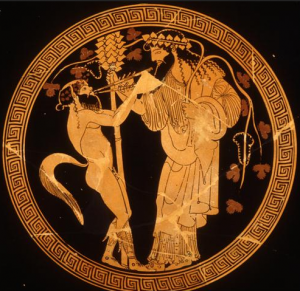 Dionysus, Greek lord of wine, ritual madness and ecstasy, death and rebirth, carried a staff tipped with a pine cone.
