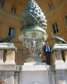Vatican pine cone. Note the two peacocks, Christian symbols of immortality.