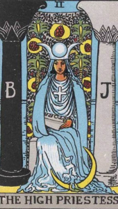 The High Priestess as middle pillar to the opposing pillars of mercy and severity
