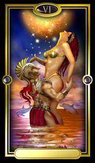 The Lovers, from The Gilded Tarot