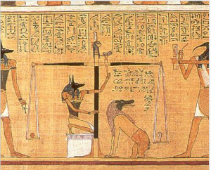 Anubis weighing the heart of the deceased. From the Papyrus of Hunefer, c. 1375 BCE