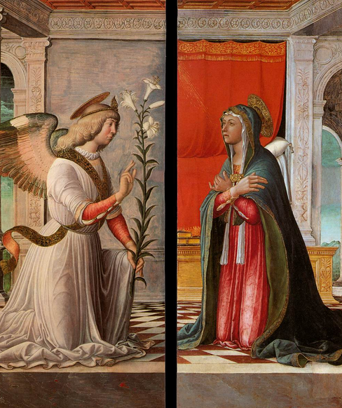 The Archangel Gabriel tells Mary that she will bear God's child. By Jacopo da Nontagnana c1440-1499.