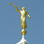 The Angel Moroni atop the Birmingham LDS Temple