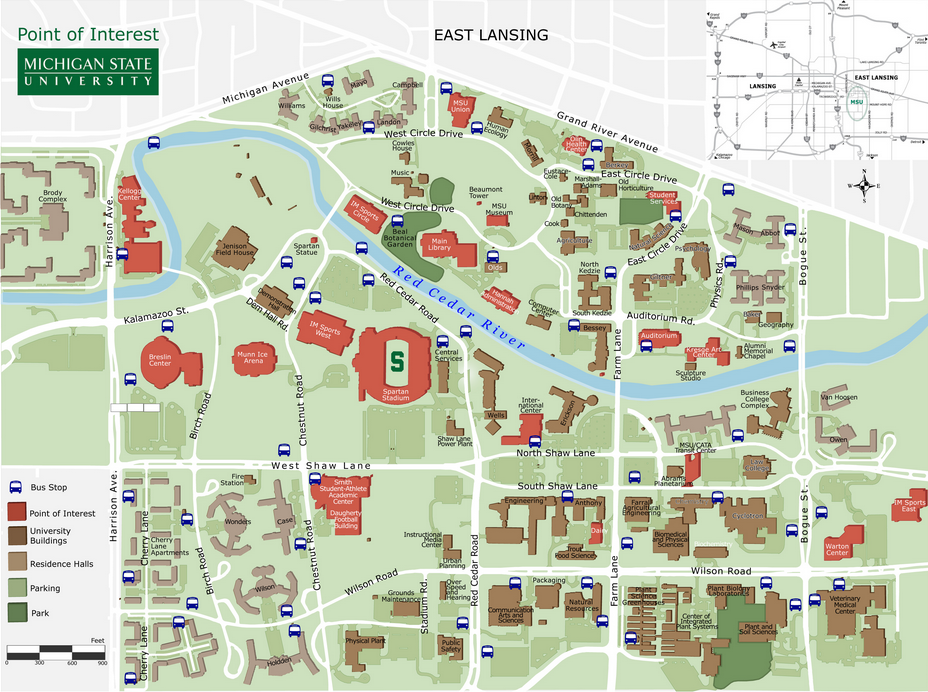 Michigan State campus is huge. My dorm isn't even on this map. It's on Shaw Lane about a quarter mile past Bogue Street. Most students buy a bus pass or ride a bike if they want to get to class on time. image by: www.fashionmode.me